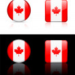 Canada Flag Buttons on White and Black Background — Stock Vector #6507051