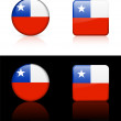 Chile Flag Buttons on White and Black Background — Stock Vector