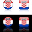 Croatia Flag Buttons on White and Black Background - Stock Vector