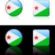 Djibouti Flag Buttons on White and Black Background - Stock Vector