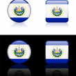 El Salvador Flag Buttons on White and Black Background - Stock Vector