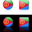 Eritrea Flag Buttons on White and Black Background — Stock Vector
