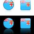 Fiji Flag Buttons on White and Black Background — Imagens vectoriais em stock