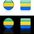 Gabon Flag Buttons on White and Black Background — Imagen vectorial