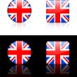 British Flag Buttons on White and Black Background — Stock Vector