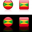 Grenada Flag Buttons on White and Black Background — ベクター素材ストック