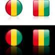 Guinea Flag Buttons on White and Black Background — Stock vektor