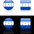 Honduras Flag Buttons on White and Black Background — Imagens vectoriais em stock