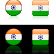 India Flag Buttons on White and Black Background — Stock Vector