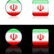 Iran Flag Buttons on White and Black Background - Stock Vector