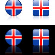 Iceland Flag Buttons on White and Black Background — ストックベクタ