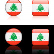 Lebanon Flag Buttons on White and Black Background — Imagen vectorial