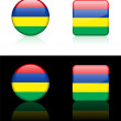 Mauritius Flag Buttons on White and Black Background - Stock Vector