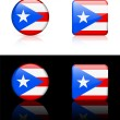 Puerto Rico Flag Buttons on White and Black Background — Stock Vector #6507250