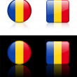 Stock Vector: Romania Flag Buttons on White and Black Background