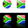 South Africa Flag Buttons on White and Black Background — Stock Vector