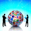 Royalty-Free Stock Vector Image: Business Couple with Flags Globe