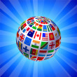 Flags Globe on Blue Background — Stock Vector