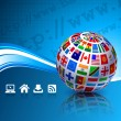 Flags Globes on Blue Internet Background — 图库矢量图片