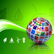 Royalty-Free Stock Vector Image: Flags Globe on Green Nature Background