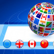 Flags Globe with Internet Buttons — Stockvectorbeeld