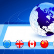 Business Globe with Flag Internet Buttons -  