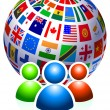 User Group with Flags Globe - Stock Vector