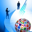 Business Couple with Flags Globe — Stockvectorbeeld
