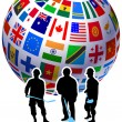 Construction Workers with Flags Globe - Stock Vector