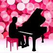 Stock Vector: Piano Musician on Lens Flare Background