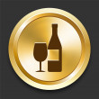 Wine on Golden Internet Button — Stockvectorbeeld
