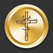 Cross on Golden Internet Button - Stock Vector