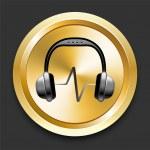 Headphones on Golden Internet Button — Stock Vector
