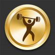 Stock Vector: Weightlifting on Golden Internet Button