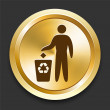 Royalty-Free Stock Vector Image: Recycle Trash on Golden Internet Button