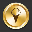 Ice Cream on Golden Internet Button — ストックベクタ
