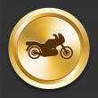 Motorcycle on Golden Internet Button — Stock Vector