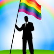 Stock Vector: BusinessmLeader Holding Gay Flag