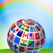 Flag Globe on Nature Background with Rainbow - Stock Vector