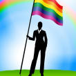 Stock Vector: BusinesswomLeader Holding Gay Flag