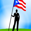 Stock Vector: BusinesswomLeader Holding Puerto Rico Flag