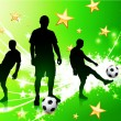 Soccer Player on Green Abstract Light Background — 图库矢量图片