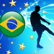 Brasil Soccer Player on Abstract Light Background - Stock Vector