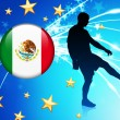 Mexico Soccer Player on Abstract Light Background - Image vectorielle