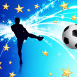 Soccer Player on Abstract Blue Light Background — Vektorgrafik