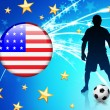 United States Soccer Player with Flag on Light Background — Stock Vector #6508377