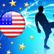 United States Soccer Player with Flag on Light Background — Stock Vector