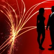 Sexy Young Couple on Abstract Valentine's Day Light Background — 图库矢量图片