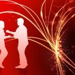 Sexy Young Couple on Abstract Valentine's Day Light Background — Imagen vectorial