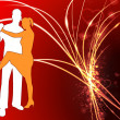 Sexy Young Couple on Abstract Valentine's Day Light Background — Stock vektor